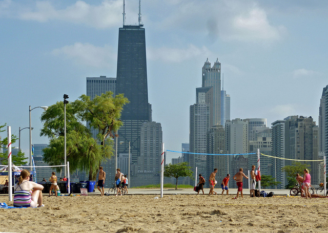 Lakeshore Drive Beaches on Memorial Day in Chicago