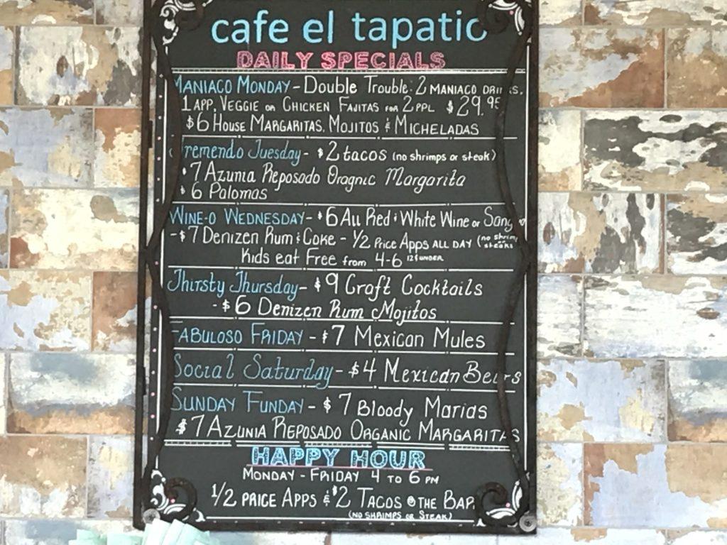 Daily Specials Menu at Cafe El Tapatio Restaurant