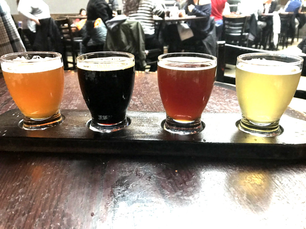 Hand Crafted Beers Samples at Piece Brewery and Pizzeria in Chicago
