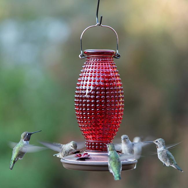 Perky-Pet Red Hobnail Vintage Glass Hummingbird Feeder