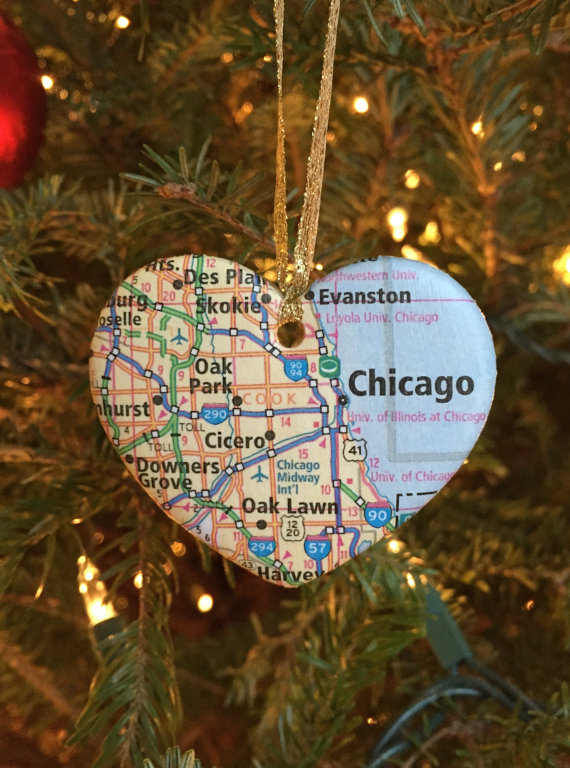 Chicago Map Christmas Ornament - 10 Chicago Christmas Ornaments For Gifting - Go Visit Chicago