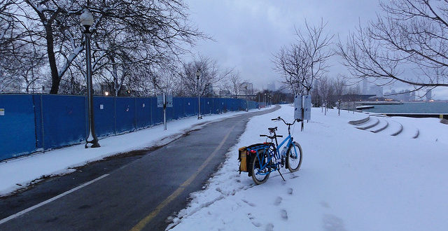 The only trail that's cleared in Chicago (that I know about) is the Lakefront Trail.